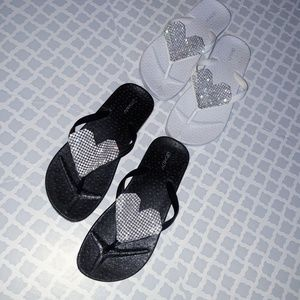 Other - Two Pair Of Heart Rhinestone Sandals Girls